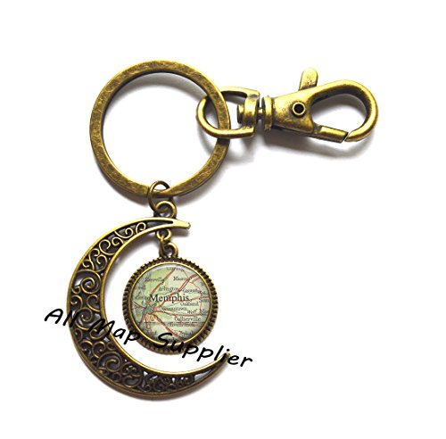 Charming Moon Keychain,Memphis, Tennessee map Moon Key Ring, Memphis map Moon Keychain map jewelry Memphis Moon Keychain Memphis Moon Key Ring,A0308