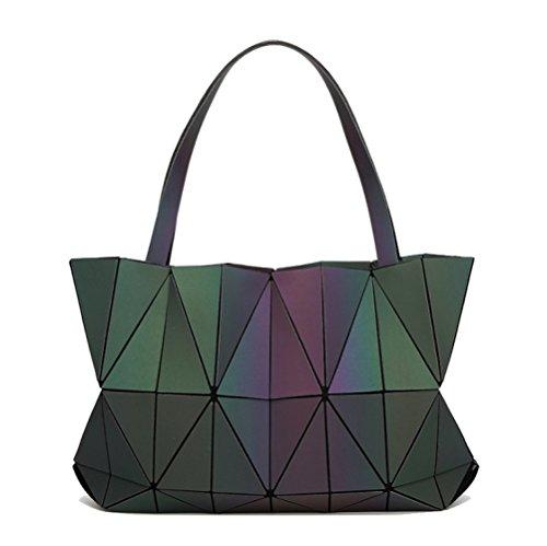 AJLBT Chicas Moda Marea Mate Bolso De Diamantes Luminoso Gran Capacidad Bolso De Hombro Bolsa De Mosaico De Cubo De Rubik Luminous