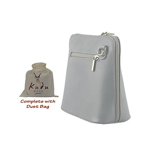 bag running zip across Zippers Vera genuine Pelle including outer both top protective dust pocket sides leather the crossbody handbag Mini and Grey Light P7zvqnFH7