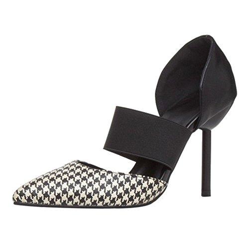 COOLCEPT Mujer Puntiagudo Formal Business Elastico Strap Mini Tacon Bombas Zapatos Vestir Fiesta Sandalias Multicolor