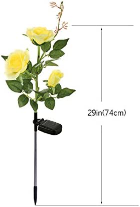 XLUX Outdoor Solar Powered Rose Lights Flower Stake, for Garden Patio Yard Christmas Pathway Decoration, Yellow 2 Pack