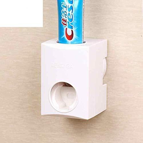 HomeSto Self - Adhesive Suction Cup Automatic Toothpaste Dispenser Squeezer Bathroom White Plastic Holder Distributor Creative Design