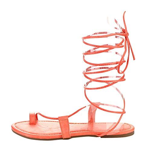 Beston Fashion Focus Ice1 Dames Onder De Knie Hoge Poot Wrap Romeinse Gladiator Veter Platte Sandaal Fuchsia