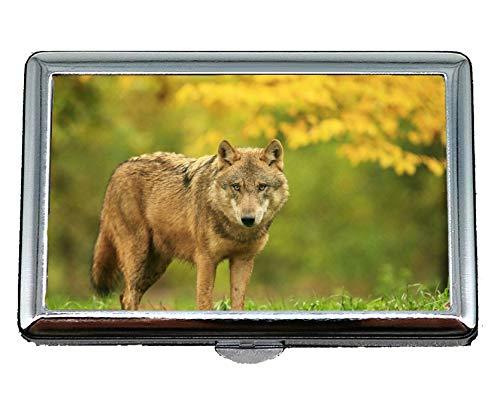 Cigarette Case & Stash Box,Predator Blur Wolf Business Card Holder Wallet Credit Card ID Case ()