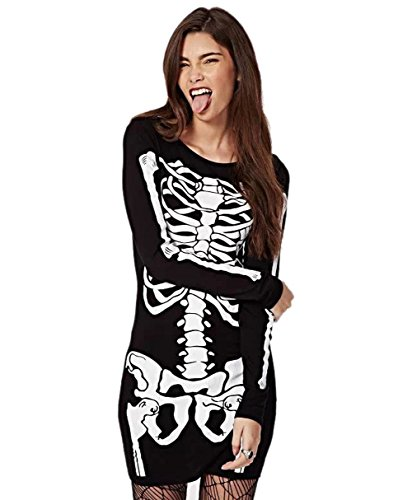 YIMEIMEI Women Punk Halloween Bodycon Skeleton Skull Print Party Club Dress -