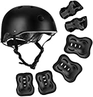 Kids Bike Helmet Pad Set Elbow Knee Wrist Pads Protective Gear Set for Skateboard, Roller Skating, Cycling, Sc