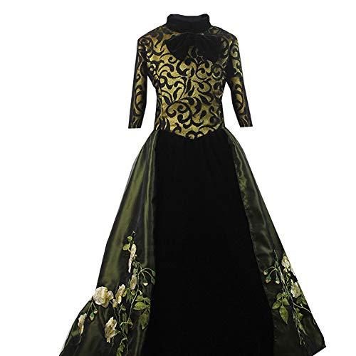 Adult Women Green Fancy Flower Dress for Evil Step Mother Cosplay Costume Halloween (XL)]()