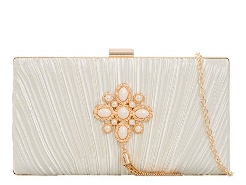 Satin Clutch Wedding Handbags Bag Out 2071 Ivory Purses LeahWard Night Women's Bw75AA