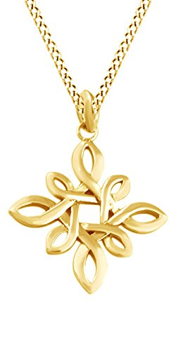 Jewel Zone US Irish Love Infinity Celtic Knot Pendant Necklace 14k Yellow Gold Over Sterling Silver