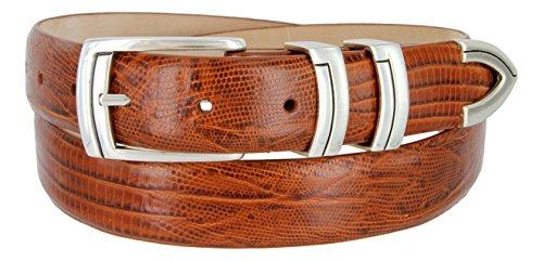 Harbor Men's Italian Genuine Calfskin Leather Designer Dress Belt In Lizard Tan, Size 38