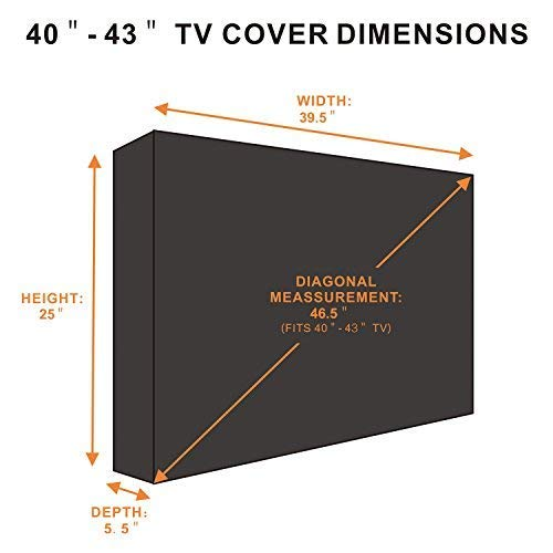 Outdoor TV Cover 40 to 43 inches, Bottom Seal, Waterproof and Weatherproof, Fits Up to 39.5W x 25H inches