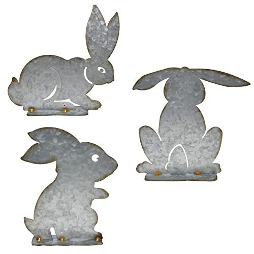 Gift Boutique 3 Rustic Galvanized Spring Bunny Rabbit Lawn Garden Decor Outdoor Statues Figurines and Yard Decorations Animals Home Ornaments Design Standing Art Farmhouse Rabbit Decor]()