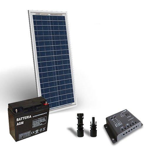 Kit solar Pro 30W 12V Solarmodul Regulateur Lade-5a-pwm 1x Akku