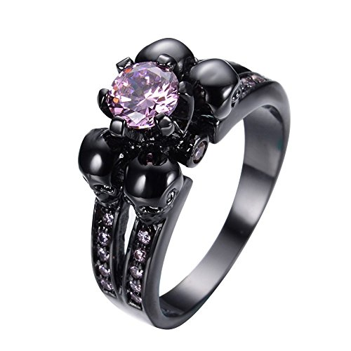 JAJAFOOK Womens Pink Diamond Skulls Christmas Best Friend Wedding Black Gold Ring Size 5-10 (Engagement Pink Ring Black)