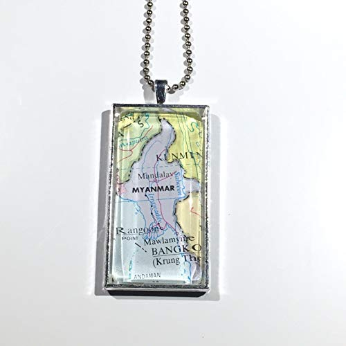 Mandalay Rangoon Myanmar Asia Map Pendant Silver Necklace VNTG Atlas 2''x1'' GH-712