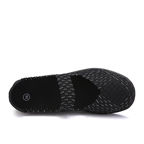 Closed Sandals Weave Blacksilver Women HKR Wedges Peep Toe Comfort Mary Jane Shoes Woven Platform f6WqwU5U
