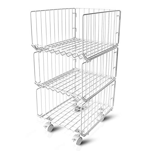 - Pup joint Metal Wire Baskets, 3 Tiers Foldable Stackable Rolling Baskets Utility Shelf Unit Storage Organizer Bin with Wheels for Kitchen, Pantry, Closets, Bedrooms, Bathrooms