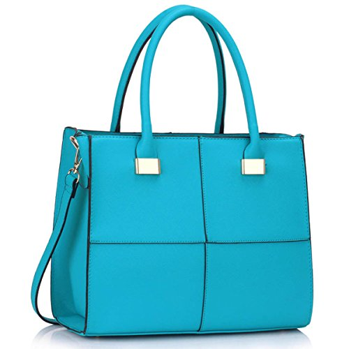 Xardi London–las mujeres bolsas de hombro bolsos de piel estilo señoras niñas Colegio Bolsa A4 verde azulado