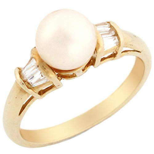 (10k Solid Yellow Gold Freshwater Cultured Pearl & Baguette CZ Ring Jewelry)