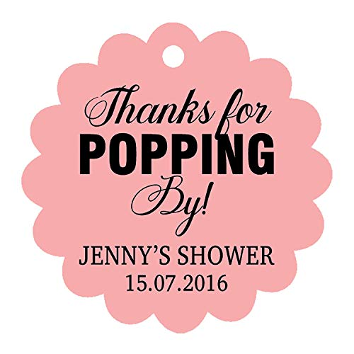 (100 PCS Personalized Baby Shower Favors Tags Custom Quote Thank You For Popping By Baby Shower Gift Hang Tags)