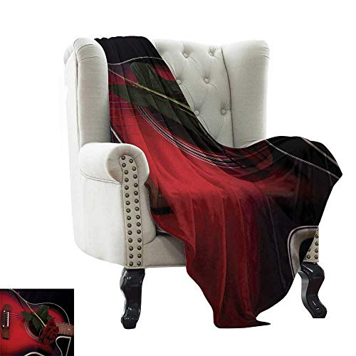 LsWOW Pool Solar Blanket Red and Black,Spanish Musician Portugal Hand Made Guitar with Romance Theme Love Rose,Ruby and White for Bed & Couch Sofa Easy Care 30