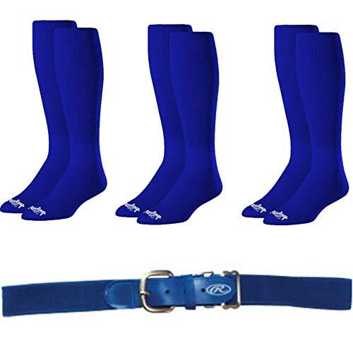 Rawlings Baseball Softball Socks (3-Pairs) and Belt - Royal Blue, Adult Belt, Large Socks