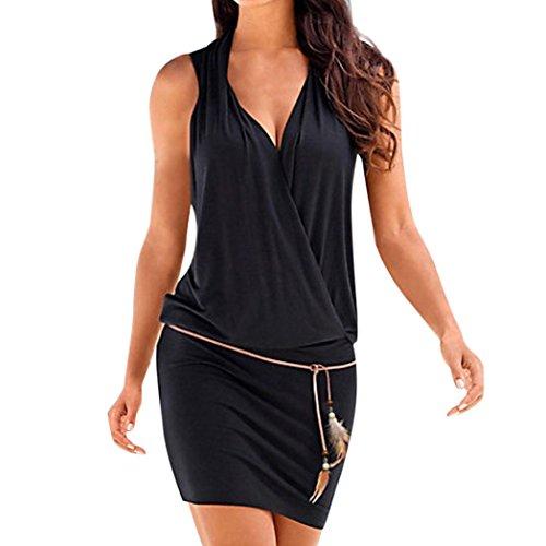 Chic ElGante Tunique Robe Femmes Casual D'T,Fathoit Col V Profond Robe De Plage sans Manches Mini Robes T-Shirt Party Robe Court Mini Robe Noir