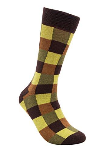 Pattern Joker - Rambutan Men's Seamless Cotton Socks Fashion Collection US 8.5-12.5 Multi-Color (Joker (Yellow Brown Olive))