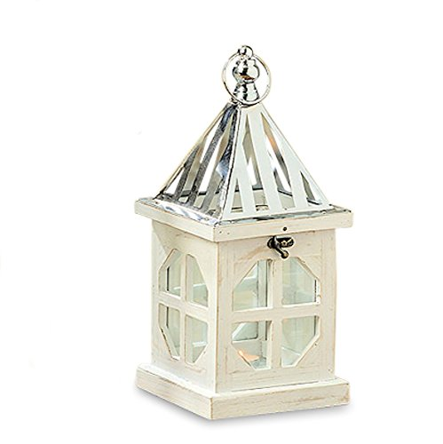 Post Candle Lantern - Whole House Worlds The Crosby Street Cross Post Candle Lantern, Silver Metal Slated Roof, Top Opening, Swing Latch, Hanging Loop, Solid Wood Construction, Glass, 13 Inches Tall, By