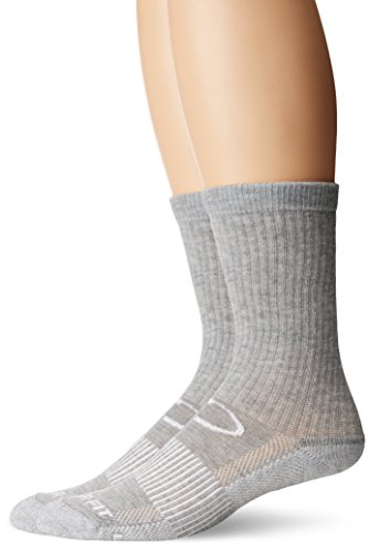 Copper Fit Unisex-Adults Crew Sport Socks-2 Pack, Gray, Small/Medium