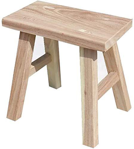 Asdfg Taburete de vestir, taburete de madera maciza, redondo, asiento de familia gruesa, mesa de comedor, Color madera, 28*15*24cm