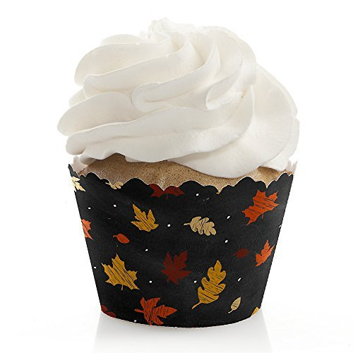 Fall Leaves - Give Thanks Party Decorations - Fall or Thanksgiving Cupcake Wrappers - Set of 12