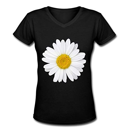 (Daisy Petal Womens V Neck Short Sleeve T Shirt)