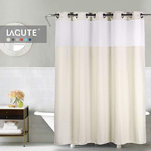 Lagute Snaphook TrueColor Hookless Shower Curtain, Removable Liner | See Through Top | Machine Washable | -