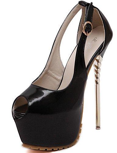GGX/ Damenschuhe-High Heels-Kleid / Party & Festivität-PU-Stöckelabsatz-Zehenfrei / Komfort-Schwarz / Rot black-us6 / eu36 / uk4 / cn36