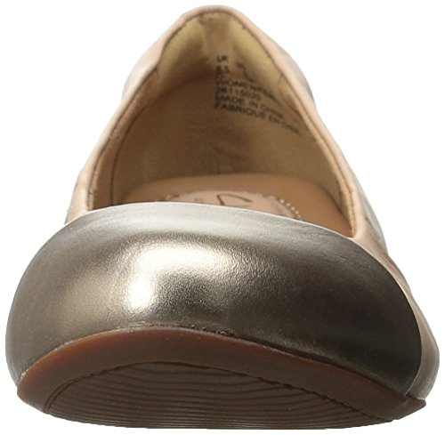 Clarks Womens Alitay Susan Flat Nude Pink / Gold Combo