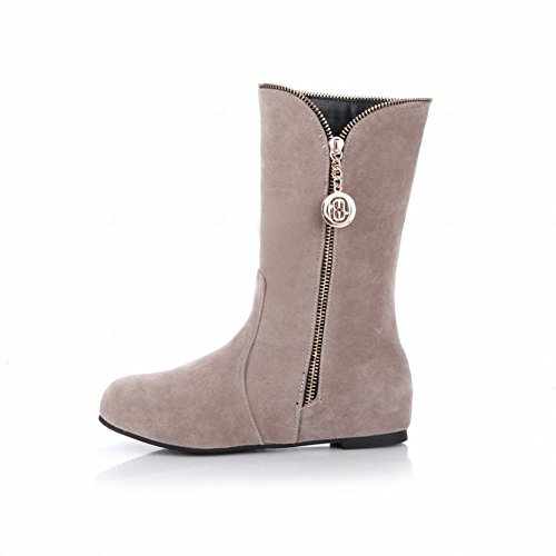 Carol Shoes Women's Western Hidden Heel Metal Ornaments Snow Boots Beige D09eafh
