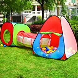 Children and Kids Pop Up House,Tent and Tunnel Tube 3 Pcs In 1, Indoor Tent,Outdoor Tent (Color May Vary)By C&H Solutions