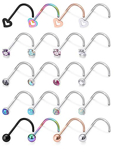 VCMART 18G 8-12PCS Stainless Steel L-Shaped Nose Stud Rings Piercing Jewelry 1.5mm 2mm 2.5mm 3mm Clear Cubic Zirconia