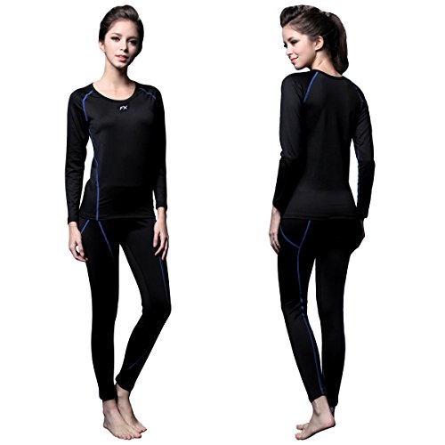 (FITEXTREME Womens MAXHEAT Fleece Long Johns Thermal Underwear Set Black S)