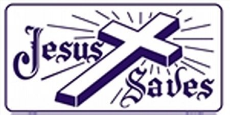(Jesus Saves License Plates Plate Tag Tags auto vehicle car front)