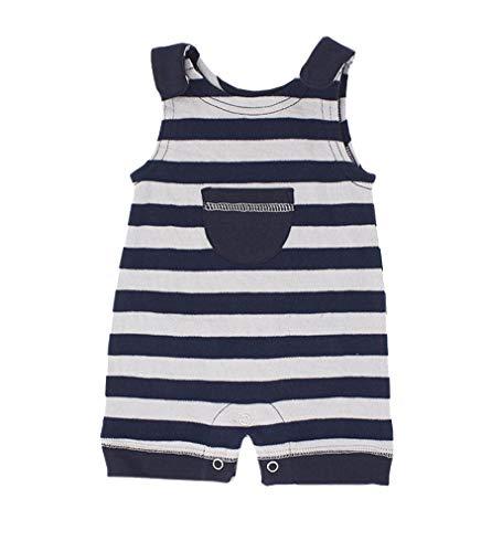Stripes Nickel Three Light - L'ovedbaby Unisex-Baby 100% Organic Cotton Sleeveless Romper (Navy/Light Gray Stripe, 3-6 Months)