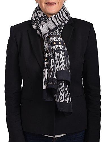 Roberto Cavalli Women's Leopard Skin Patterned Silk Scarf Black Charcoal