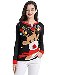 Ugly Christmas Sweater for Women Vintage Funny Merry Tunic Knit Sweaters
