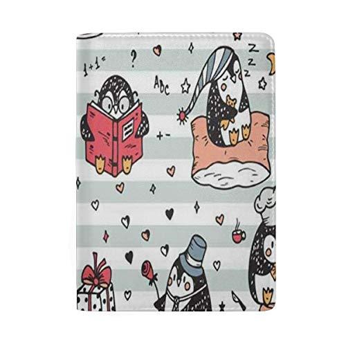 Passport Holder Cute Penguins Passport Cover Case Wallet Card Storage Organizer for Men Women Kids