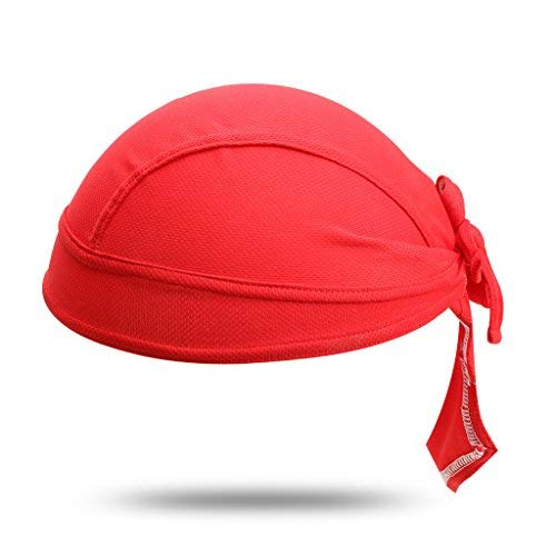 Color Sun UV Protection Cycling Bandana Cap Helmet Liner Skull Cap Sports Headscarf Quick Dry Sweat Proof Breathable, Red ()