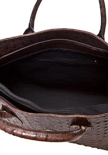 Borsa a mano in vera pelle stampata coccodrillo colore marrone