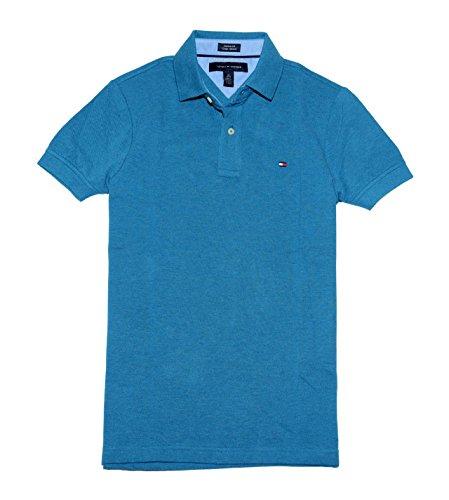 Tommy Hilfiger Men's Custom Fit Polo T-shirt, Turqua Blue, L