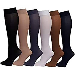 6 Pairs Women's Opaque Spandex Trouser Knee High Socks Queen Size 10-13 (Assorted)