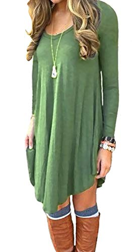 DEARCASE Women's Dress Long Sleeve Stretch Solid A-Line Short Tunic Dresses Army Green S